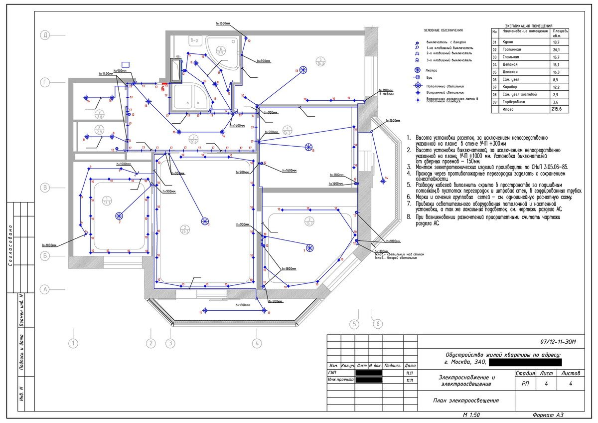 Проект электрики в квартире пример