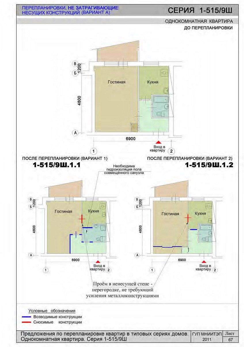 Серия дома 1-515/9ш cогласование перепланировки в москве.