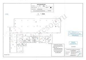 Поэтажный план БТИ на нежилое помещение в красных линиях.