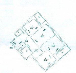 Поэтажный план квартиры в новостройке. Пример 1.