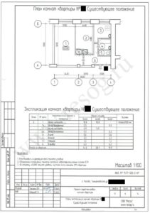 Проект перепланировки двухкомнатной хрущевки- План до ремонта