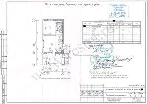 Проект перепланировки двухкомнатной квартиры в Московской области. После переустройства.