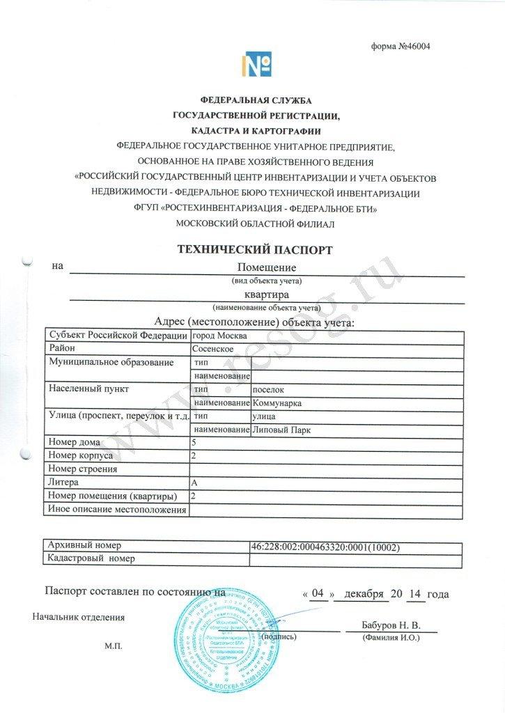 Технический Паспорт На Дом Образец Россия