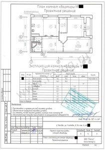 Согласованная перепланировка 3-комнатной квартиры.